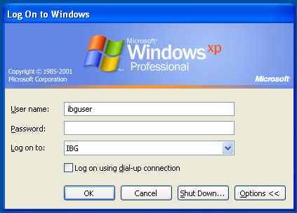 Windows XP login dialog